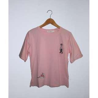 T-shirt kaos kartun pink ala korea