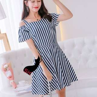 Calliope Stripe Off Shoulder Dress Blue 127RXBE