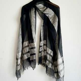 Black and gold sheer light scarf (multi purpose)