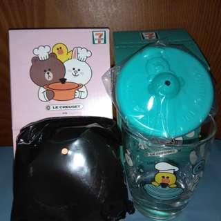 (1套2隻)  7-11 711 Le Creuset line friends 熊大 brown 莉莉sally 圓形鍋 玻璃杯 好friend碰碰杯 「竹」福糖果盒