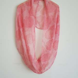 Peach floral light circle scarf