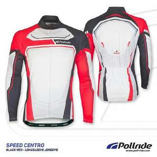JERSEY SEPEDA POL! - SPEED CENTRO BLACK RED LONG SLEEVES