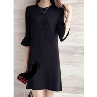 Briaana Simple Shoulder Drop Sleeves Dress Black MM0186BK