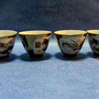 那些年,金地開窗紅雙喜龍鳳杯4隻。
