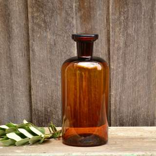 Large Amber Glass Bottle with Stopper