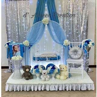 Baby decorations/ Baby Naming/ Baby first month / majlis cukur rambut/ Birthday/ pelamin / dais/Baby shower deco