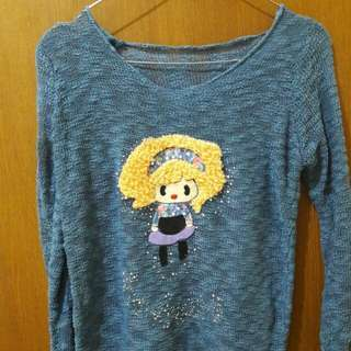 Preloved Sweater Biru Fit to L Mat Rajut