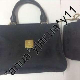 (二手品) 最後劈價$1000 真品 MCM Black Handbag 連化妝袋 外表新淨 返工 行街 可用