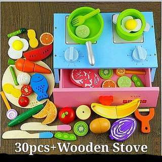 (Incl Delivery) Wooden Stove & 30pcs Magnetic Cutting Toys Set