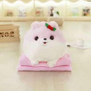 Cute Pomeranian Dog Puppy With Blanket For Travel (Poppy)