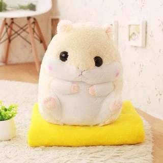 Cute Cuddly Yellow Hamster Plushie with Blanket