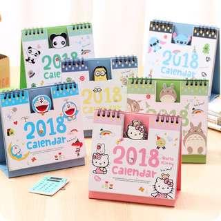 2018 Cartoon Desk Calendar (Minion, Totoro, Panda and Baymax)