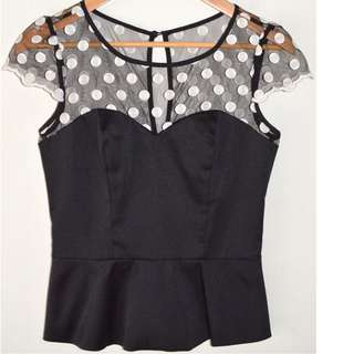 REVIEW BLACK SATIN & MESH POLKA DOT CAPSLEEVE PEPLUM TOP *NEW* 8