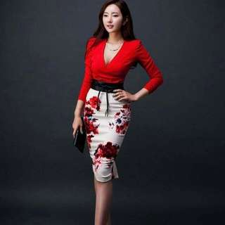 Formal Red Top & Skirt Terno