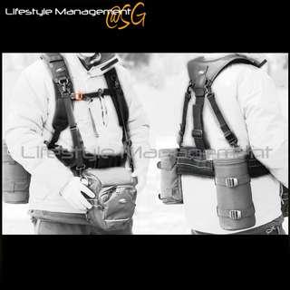 Double Shoulder Strap DSLR Camera Lens Barrel Pouch Case/Cover/Bag Waist Belt (Canon Nikon Olympus Pentax Panasonic Sony Leica)