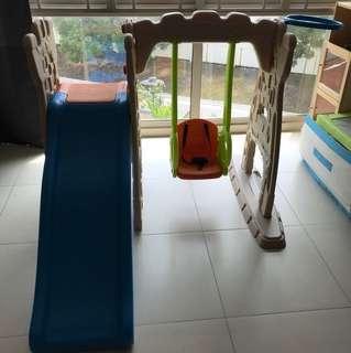 Indoor Playground, children slide and swing