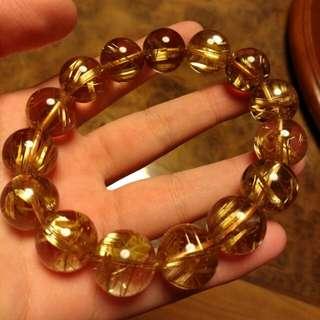 (包順豐)🈹極品寶石級純天然一級鈦金 鈦晶 金髮晶手鏈 16mm