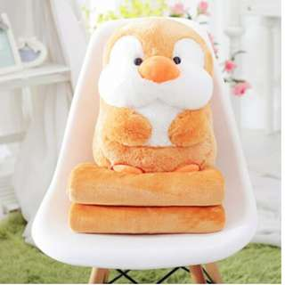 2in1 Brown Penguin Travel Pillow with blanket