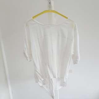 White t-shirt with split back