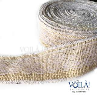 10m Burlap Ribbon with lace