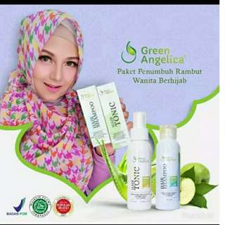 Green Angelica paket combo 2 Penumbuh rambut botak & penebal rambut tipis AMPUH atasi rambut rontok lepek ketombe bercabang ASLI AMAN HALAL BPOM