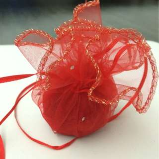 Wedding gifts favors - Sash round pouch (Red)
