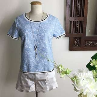 Pastel Blue Lace Patterned Top