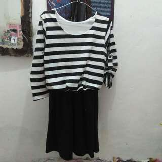 Dress hitam putih murah