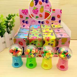 (Instocks now)12 pcs of Brand New Fruits Mini Eraser Dispenser / Children Day / Prize / Goodie bag / Birthday / Kids / Presents / Disney / Cartoon