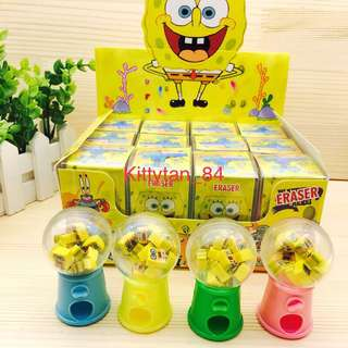(Instocks now)12 pcs of Brand New Spongebob Mini Eraser Dispenser / Children Day / Prize / Goodie bag / Birthday / Kids / Presents / Disney / Cartoon