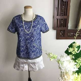Dark Blue Lace Patterned Top