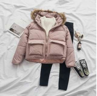 Pink Winter Jacket with fur