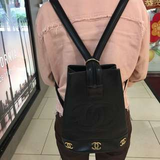 [CNY Deal $600] Vintage Chanel Bucket Two-way Backpack/Sling with 24K Gold CC logos