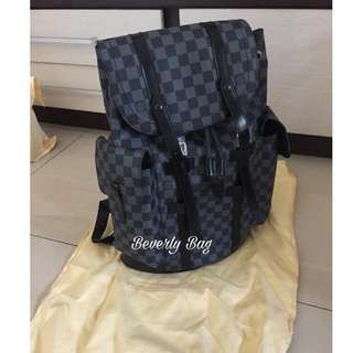 jual tas LV Backpack Christopher LEATHER MIRROR - damier black