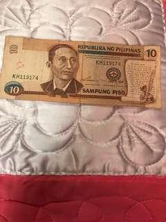 10 peso bill year 1993