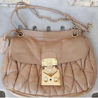 Miu Miu Cipria Nappa Matelasse Chain Bag