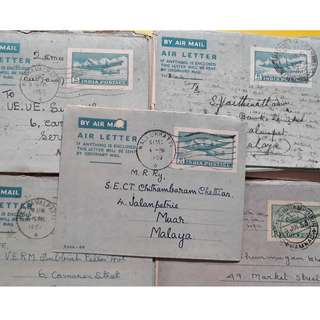 AEROGRAMME 1950's from INDIA to MALAYSIA / SINGAPORE - 10 COVERS LOT
