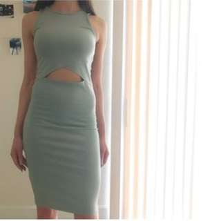 Green Mid cut out Dress