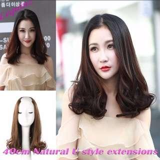 Mid shoulder U Shape Hair Extensions Natural Curls
