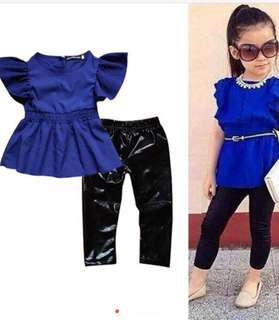 Blue top plus leather leggings