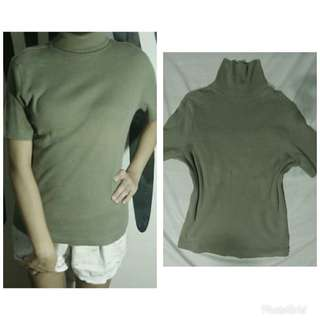 olive green turtle neck blouse
