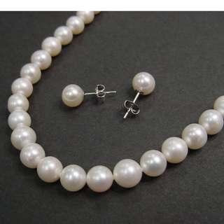 真珠14K白金套裝(頸鍊+耳環) Set of good luster 7.5-8mm fresh water pearls necklace & earrings with 14 K white gold