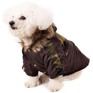 CAMOUFLAGE PARKA WITH FUR TRIMMED HOOD