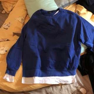 藍色假兩件衛衣