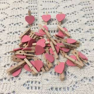 Mini wooden heart clips