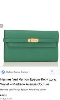 Hermes Kelly Wallet In Green ( Vert Vertigo )
