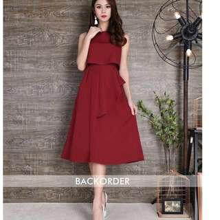Pleated layer midi dress