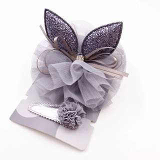 🐰Instock - 2pc grey fancy hair accessories, baby infant toddler girl children sweet kid happy abcdefgh