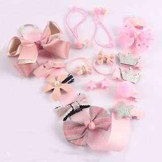 🐰Instock - 18pcs hair accessories, baby infant toddler girl children sweet kid happy abcdefg
