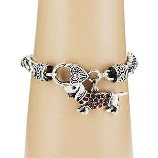 Dachshund Dog Bracelet (Red Crystal)
